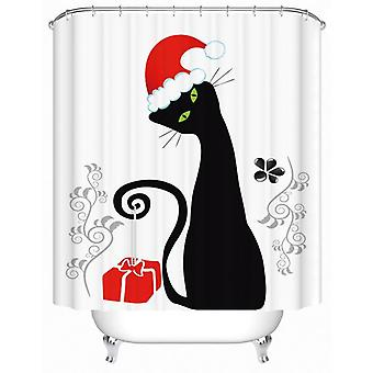 Santa's Black Cat Shower Curtain