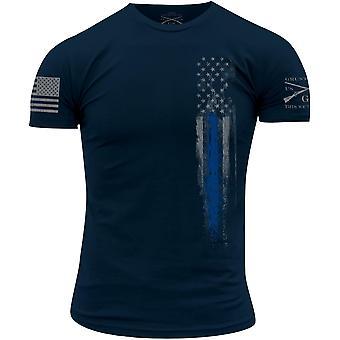Grunt stil blå linje flagg T-skjorte-Navy