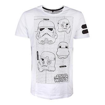 Star Wars TK-421 Imperial Army Helmet Grid View T-Shirt Masculino Pequeno Branco