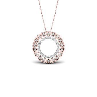Igi certified 10k rose gold 0.16ct tdw diamond filigree circle necklace