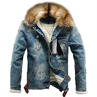 Allthemen Men's Solid Wool Denim Jacke Winter Warm Dick gepolstert Outwear flauschigen Kragen