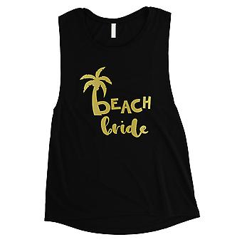 Beach Bride Palm Tree-GOLD Womens Black Muscle Tank Top Modern Chic