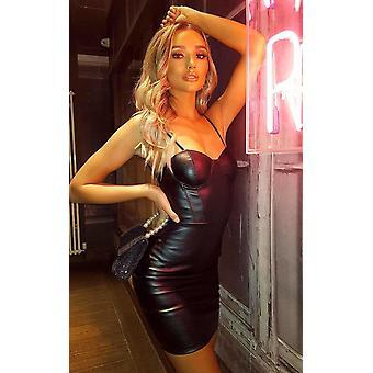 IKRUSH Womens Adriana faux leder Bodycon mini jurk