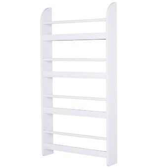 HOMCOM Wood Wall Hanging Bookshelf Magazine Papers Rack Four-Tier Water Resistant Paint Freestanding White
