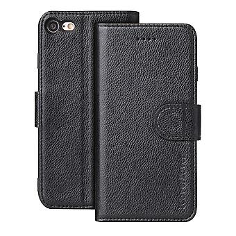 Voor iPhone SE(2020), 8 & 7-behuizing, iCoverLover Genuine Cow Leather Wallet Cover,Zwart