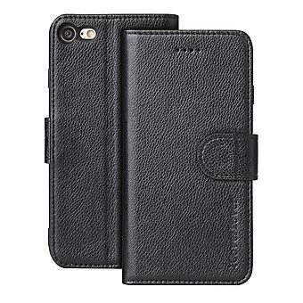 Pour iPhone SE (2020), 8 et 7 Case,iCoverLover Genuine Cow Leather Wallet Cover,Black