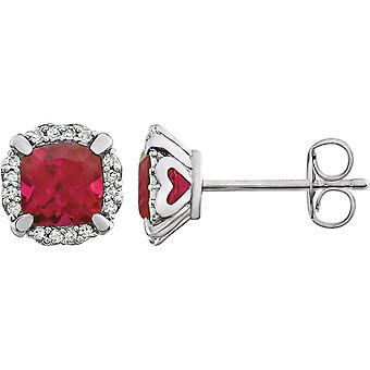 14k White Gold Ruby Created Ruby and 0.1 Dwt Diamond Earrings Jewelry Gifts for Women