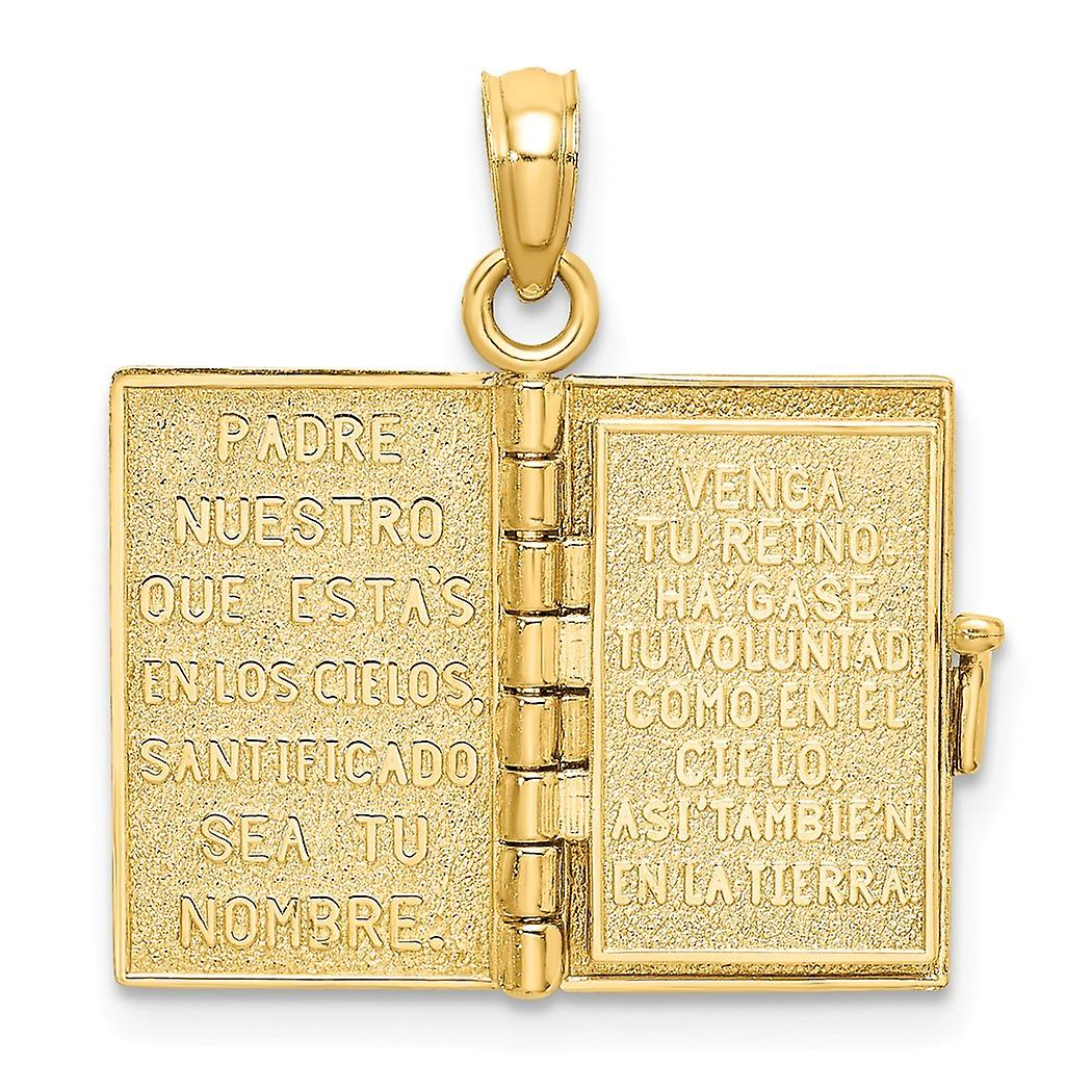 11mm 14k Gold 3 d Santa Biblia Book Spanish Bible / Moveable Pages Charm Pendant Necklace Jewelry Gifts for Women