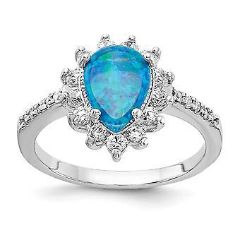 Cheryl M 925 Sterling Silver Lab Simulerade Blue Opal Ring Smycken Gåvor för kvinnor - Ring Storlek: 6 till 8
