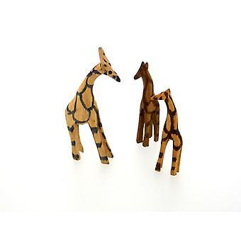 Hölzerne Giraffe Figur Familie - 3 Stück Set
