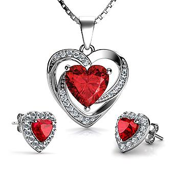 Dephini rött hjärta halsband & hjärtörhängen silver - röda smycken set