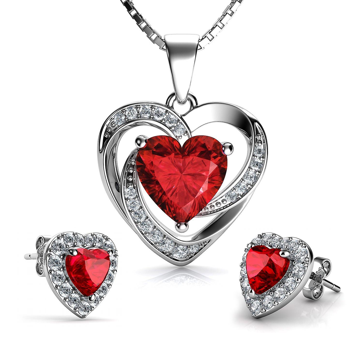 Dephini red heart necklace & heart earrings silver - red jewellery set