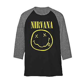 Nirvana Raglan Shirt Yellow Smiley Band Logo Official Black Unisex 3/4 Sleeve