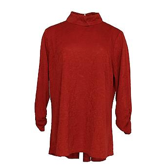 Susan Graver Women's Top Jacquard Lace Mock Neck Peplum Back Red A310084