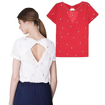 Grace and Mila Mignon Pineapple Embroidery Fine Knit Cutaway Back Top