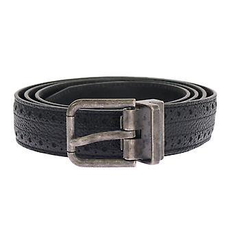 Dolce & Gabbana Black Patterned Leather Gray Buckle Belt