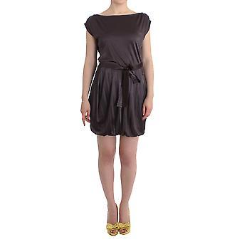 GF Ferre Brown Mini Jersey Shift Belted Dress