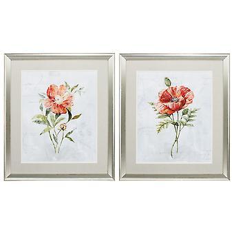 "24"" X 28"" Brushed Silver Frame Peony Poppy (Set of 2)"