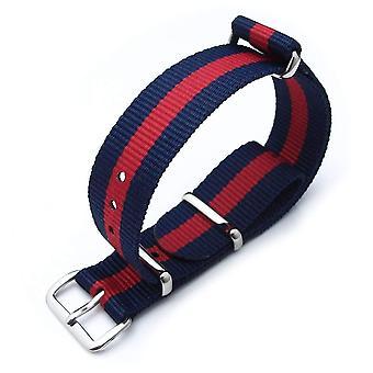 Strapcode n.a.t.o orologio cinghia miltat 18mm g10 militare cinturino cinghia ballistica bracciale in nylon, lucido - strisce blu scuro e rosso