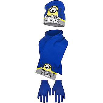 Minions despicable me kids hat scarf and gloves set