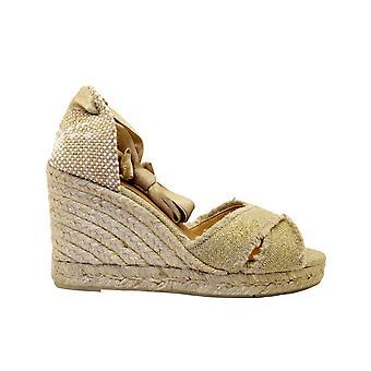 Castañer Bluma8oroclaro Women's Gold Fabric Wedges