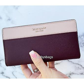 Kate spade cameron large slim bifold wallet cherry wood warm vellum pink