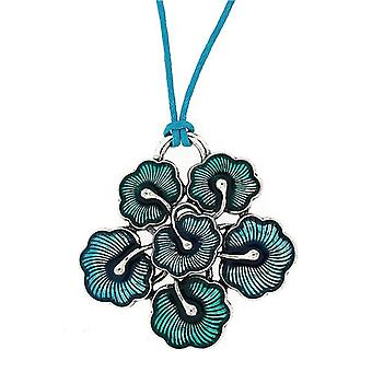 TOC Silvertone Large Blue Flower Pendant Necklace On Blue Cord 18