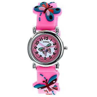 Citron KID148 Analogue Girls 3D Blue Butterfly Motiff Pink Silicone Strap Watch