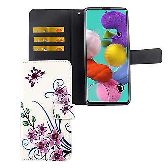 Samsung Galaxy A51 Tasche Handy-Hülle Schutz-Cover Flip-Case mit Kartenfach Lotusblume