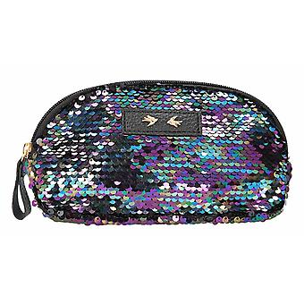 Depesche 10397 Cosmetic Bag With Sequins Trend Love Black