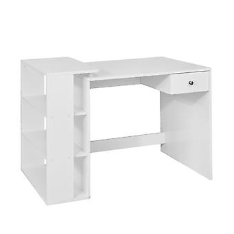 SoBuy FWT35-W,Home Office Table Desk, Computer Desk Computer Workstation with Storage Shelves, White