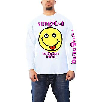 YungBlud T Shirt Raver Smile Be Happy new Official Mens White Longsleeve