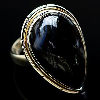 Grote Psilomelane Ring Maat 8 (925 Sterling Zilver) - Handgemaakte Boho Vintage Sieraden RING6982