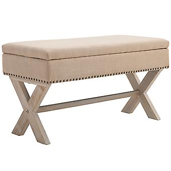 HOMCOM 91cm Elegant Storage Stool Ottoman Bentwood Frame Sponge Top w/ Metal Studding Foot Rest Material Upholstery Home Furniture Unit Beautiful Decadent Beautiful Beige