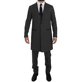 Dolce & Gabbana Gray Wool Stretch 3 Piece Long Blazer Suit GTT10168-1