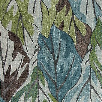 3' x 5' Blue or Green Leaves Area Rug