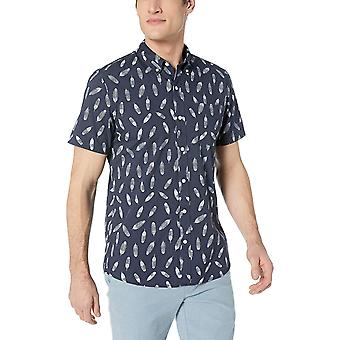 Goodthreads Men's Standard-Fit Short-Sleeve Printed Poplin Shirt, Navy Feathe...