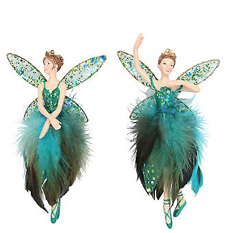 Single Gisela Graham Resin Peacock Fairy Hanging Bauble Decoration