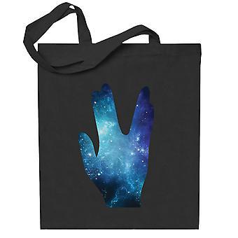 Star Trek Galaxy Siluetti Vulkanuslainen Tervehdys Totebag