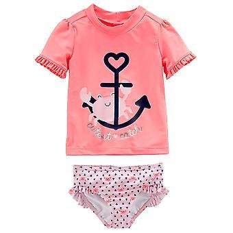 Simple Joys by Carter's Baby Girls' 2-Piece Rashguard Set, Pink/Navy Stripe, ...