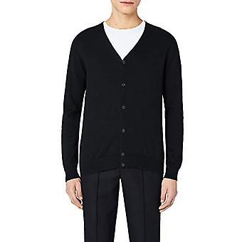 MERAKI Men's Lightweight Cotton V Neck Cardigan Sweater, (Zwart), X-Small