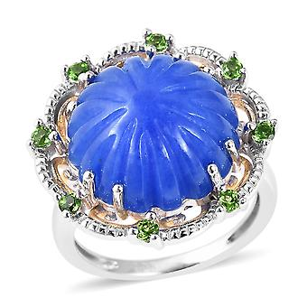 Flower Blue Jade Two Tone Gold Plated Sterling Silver Ring Diopside TJC