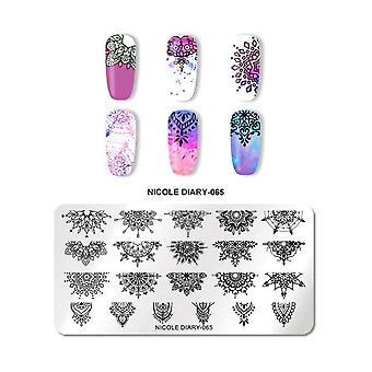 Linie cu dungi de marmură de flori, plăci de ștanțare a unghiilor - Șabloane de ștampilă de imagine