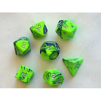 Toxic Polydice Set - Slime (Green) - 7 Standard Sized Dice for D&D and other RPGs