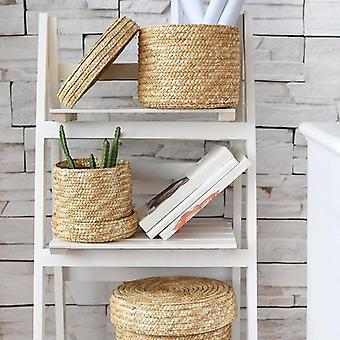 Handmade Straw Woven Storage Basket With Lid - Snack Organizer Storage Box,