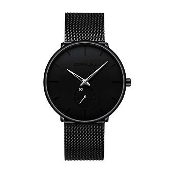 CRRJU Quartz Watch - Anologue Luxury Movement for Men and Women - Black-Silver