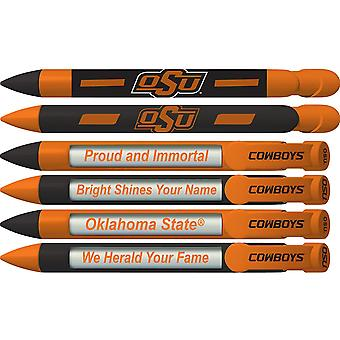 20545, Greeting Pen College Pens- Oklahoma State Cowboys Braggin-apos; Rights Rotating Message 6 Pen Set 20545