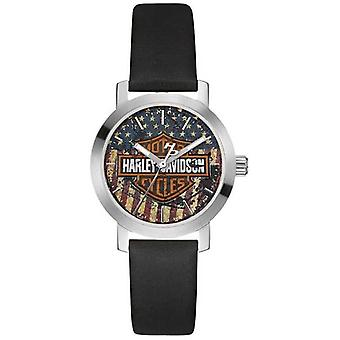 Harley Davidson Women's Black Leather Strap | American Flag Dial 76L174 Watch