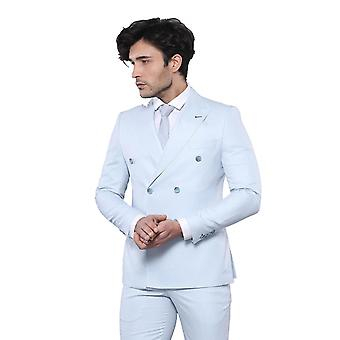 Patterned light blue double breasted suit | wessi