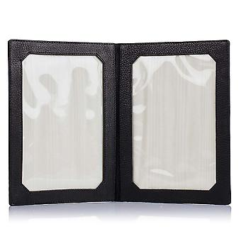 "Black Salisbury Leather Double Photo Frame 7"" x 5"""